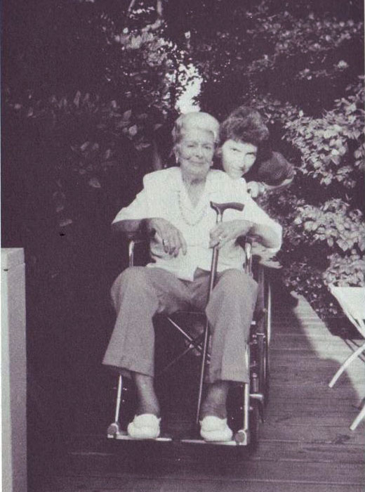 Esther Newton with Cherry Grove resident Kay, circa 1987